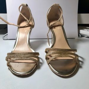 Gold strap wedge heels